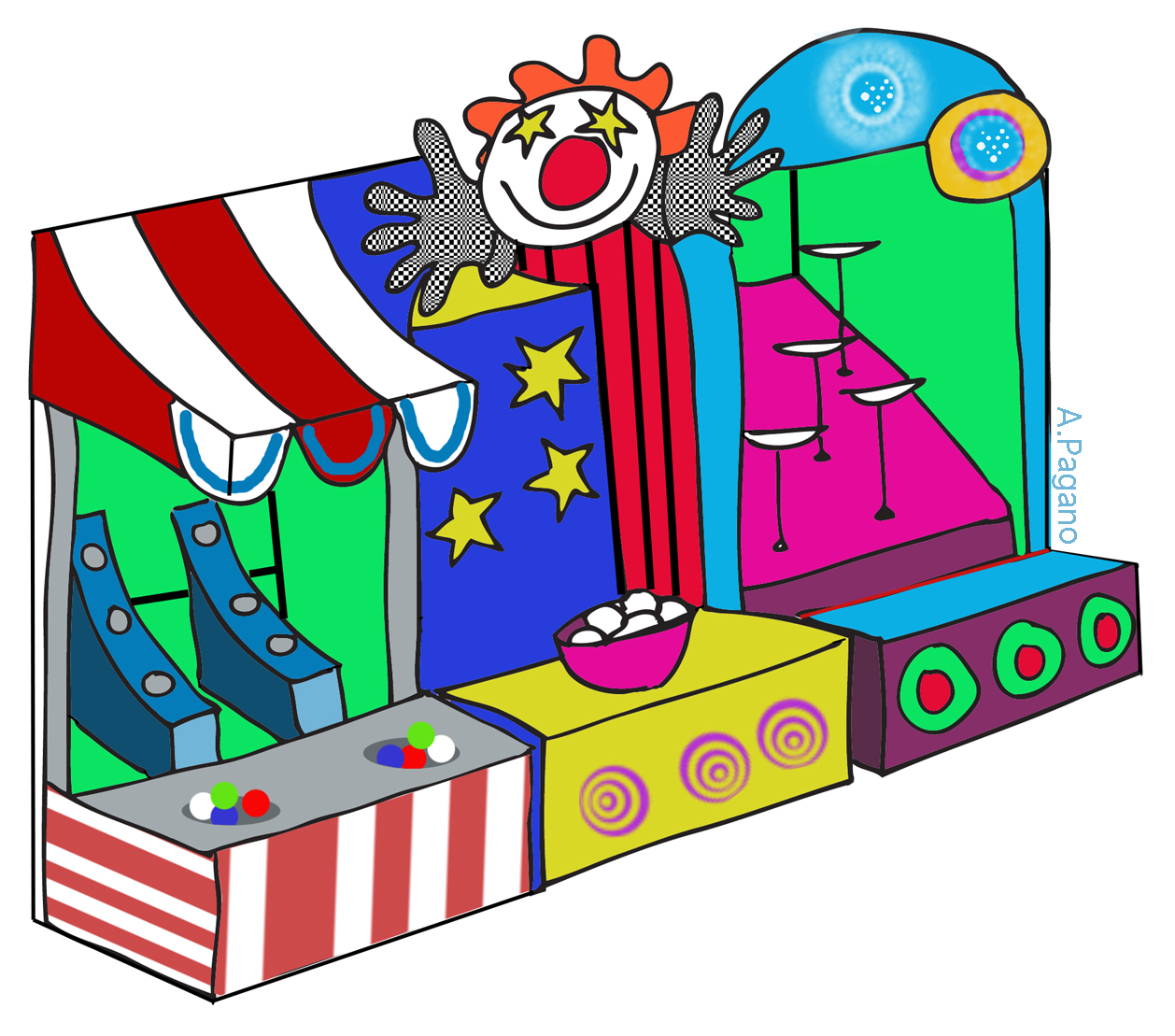 Cartoon Carnival Game Booths Clipart.