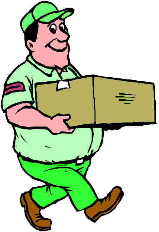 Person carrying a box clipart.