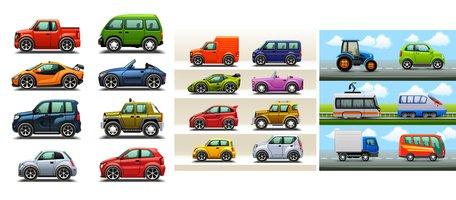 22 Modern Cars & Trucks Vectors Set.