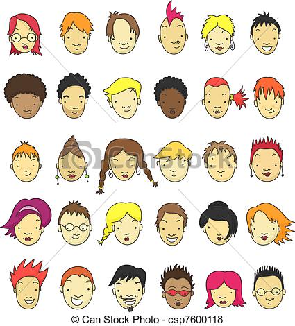 Vector of Cartoon faces.