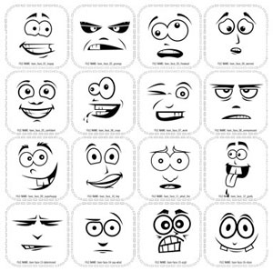 Funny Cartoon Faces Clip Art.