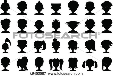 Clip Art of Cartoon Head Silhouettes k9450587.