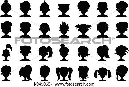 Clip Art of Cartoon Head Silhouettes k9450587.