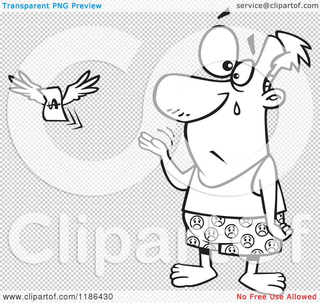 Cartoon of a Black And White Crying Man Stripped to His Boxers As.