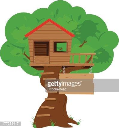 Colorful Cartoon Tree House premium clipart.