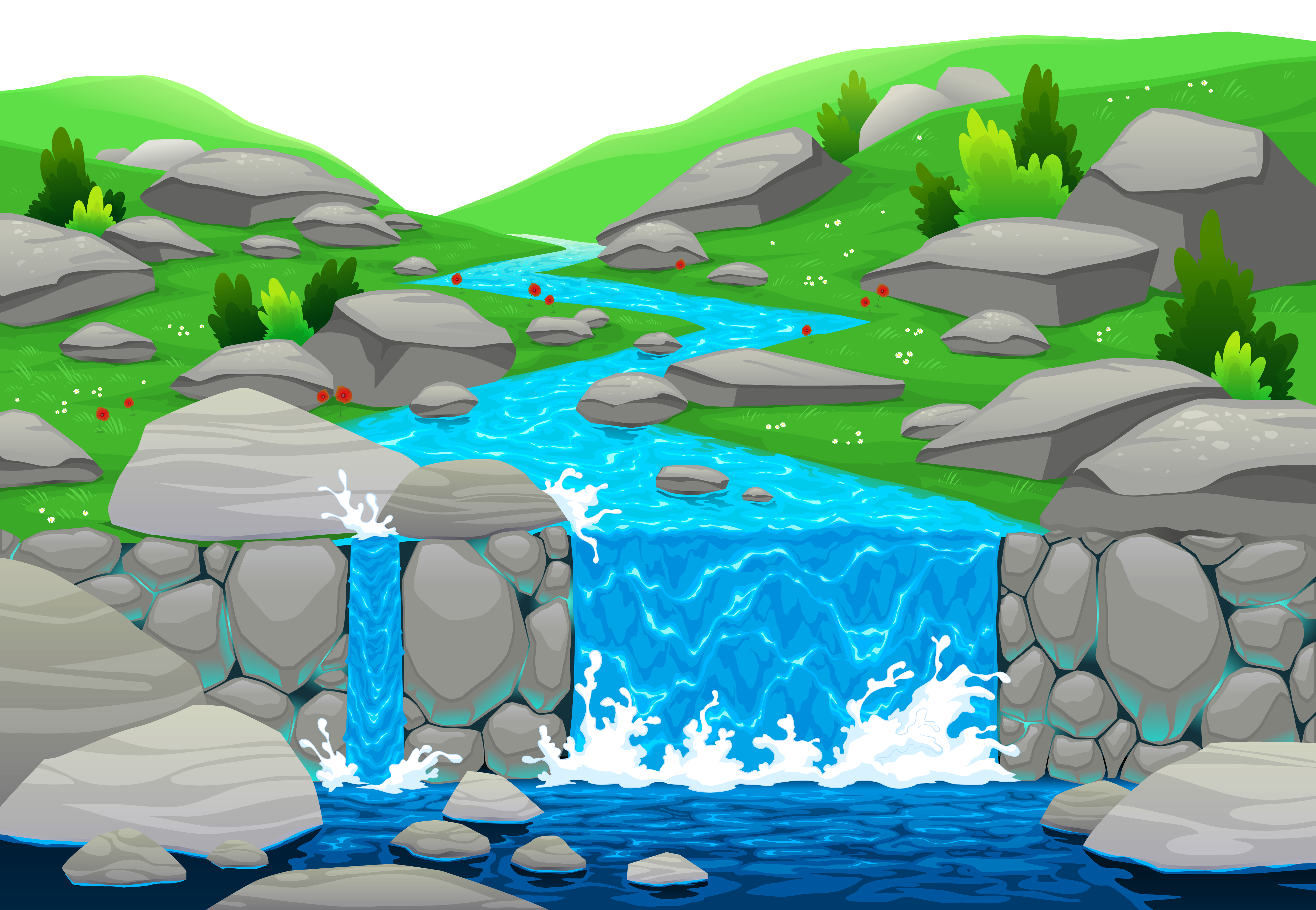 The water falling like a cascade clipart the hand is.