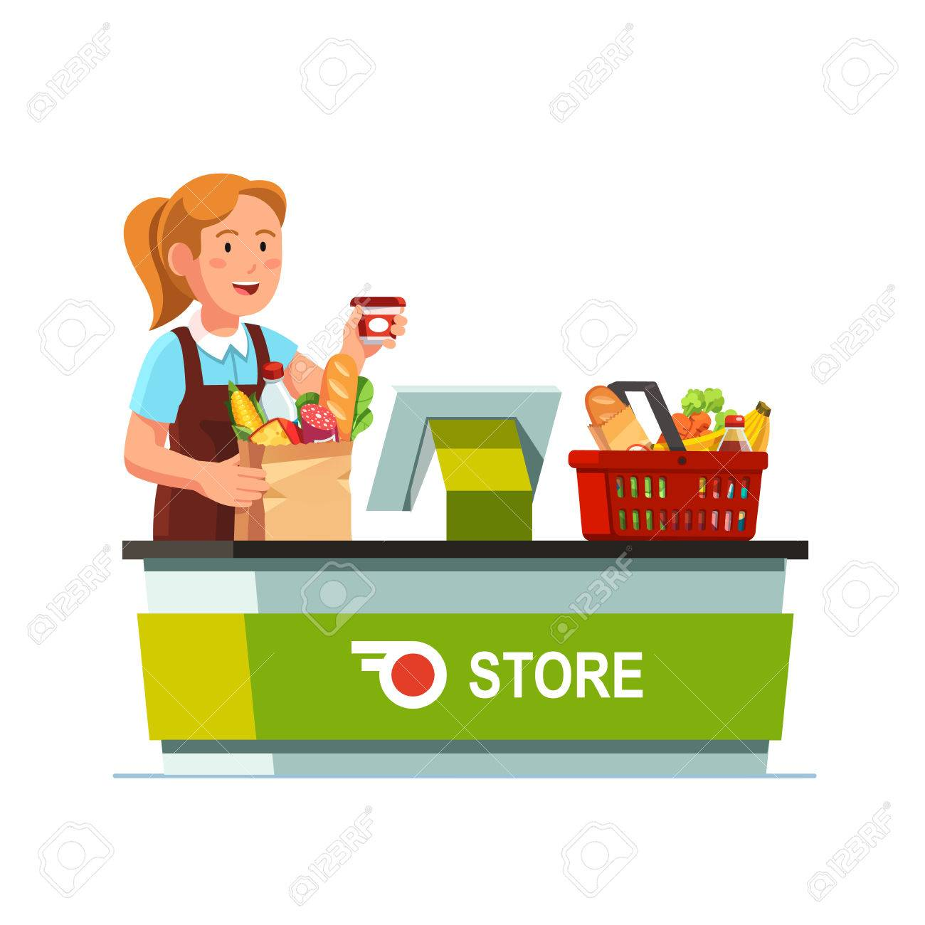 Cashier girl working at grocery store checkout counter. Sales...