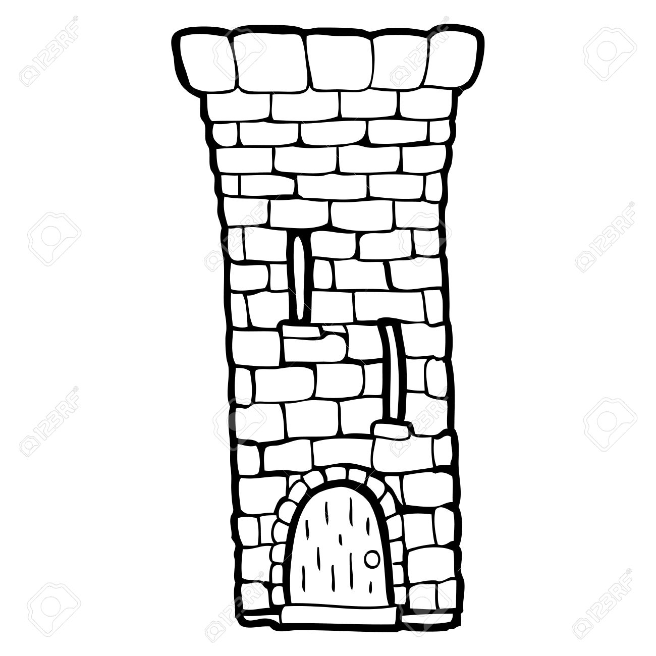 Black and white cartoon old castle tower » Clipart Station.
