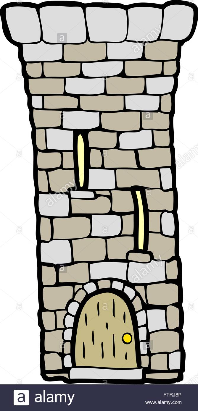 freehand drawn cartoon old castle tower Stock Vector Art.