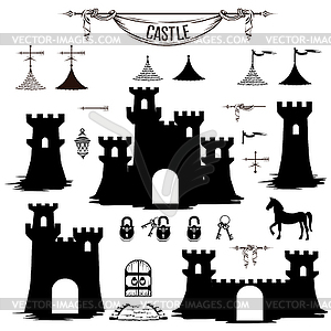 Set of silhouettes of castle towers.