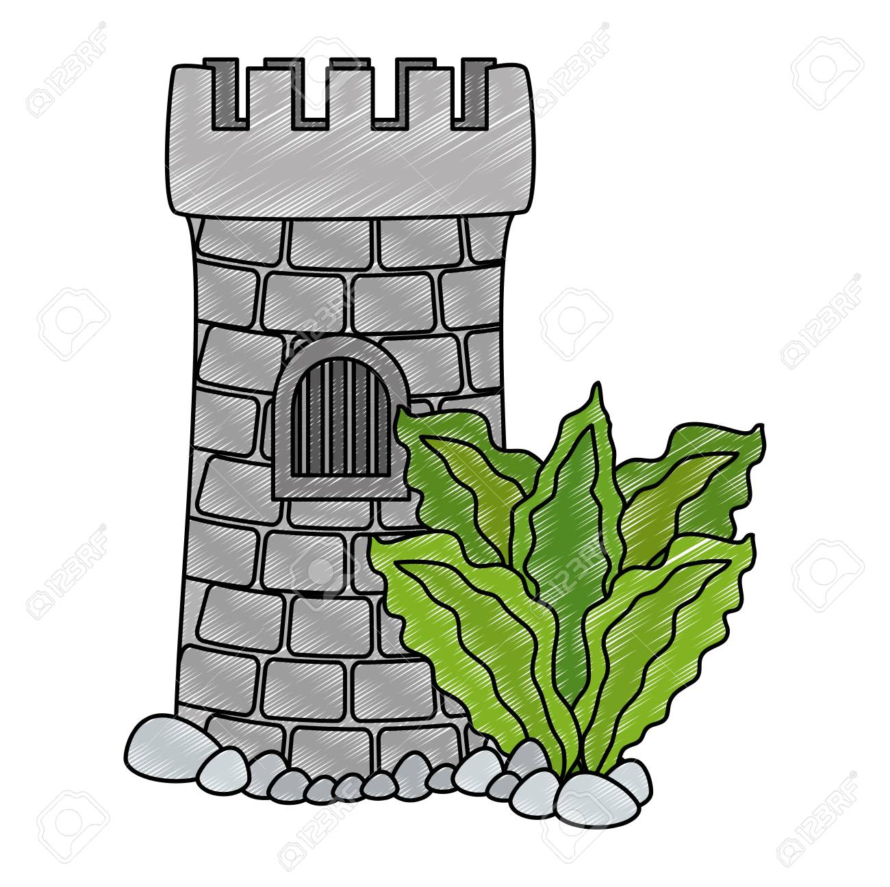 Castle tower aquarium with seaweed decoration vector illustration...