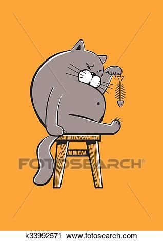 Fat cat eating a fish Clipart.