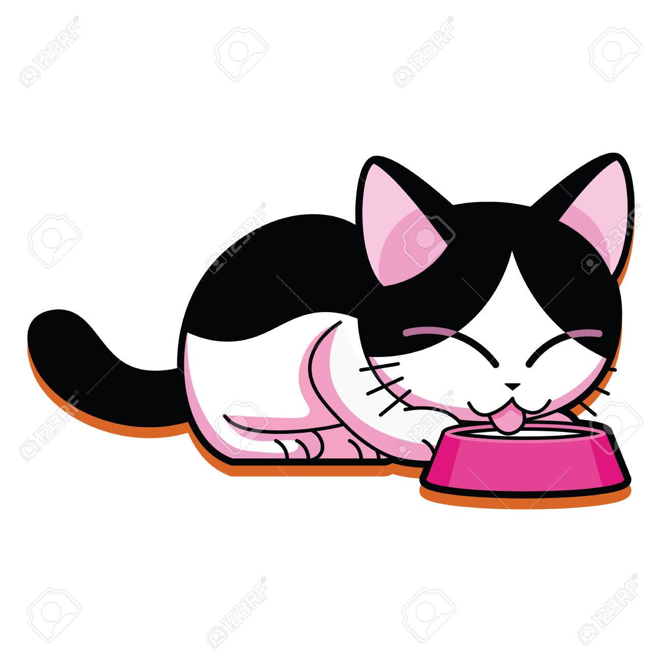 Vector Cartoon Cute Cat Eating Isolated On White Background.