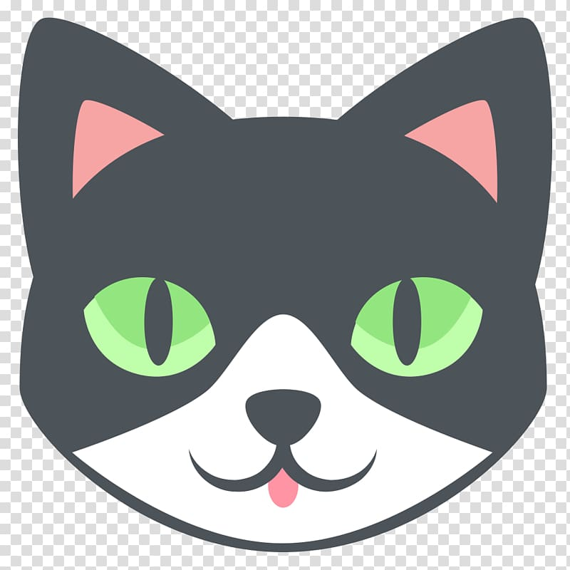 Black and white cat illustration, Cat Emojipedia Animal.