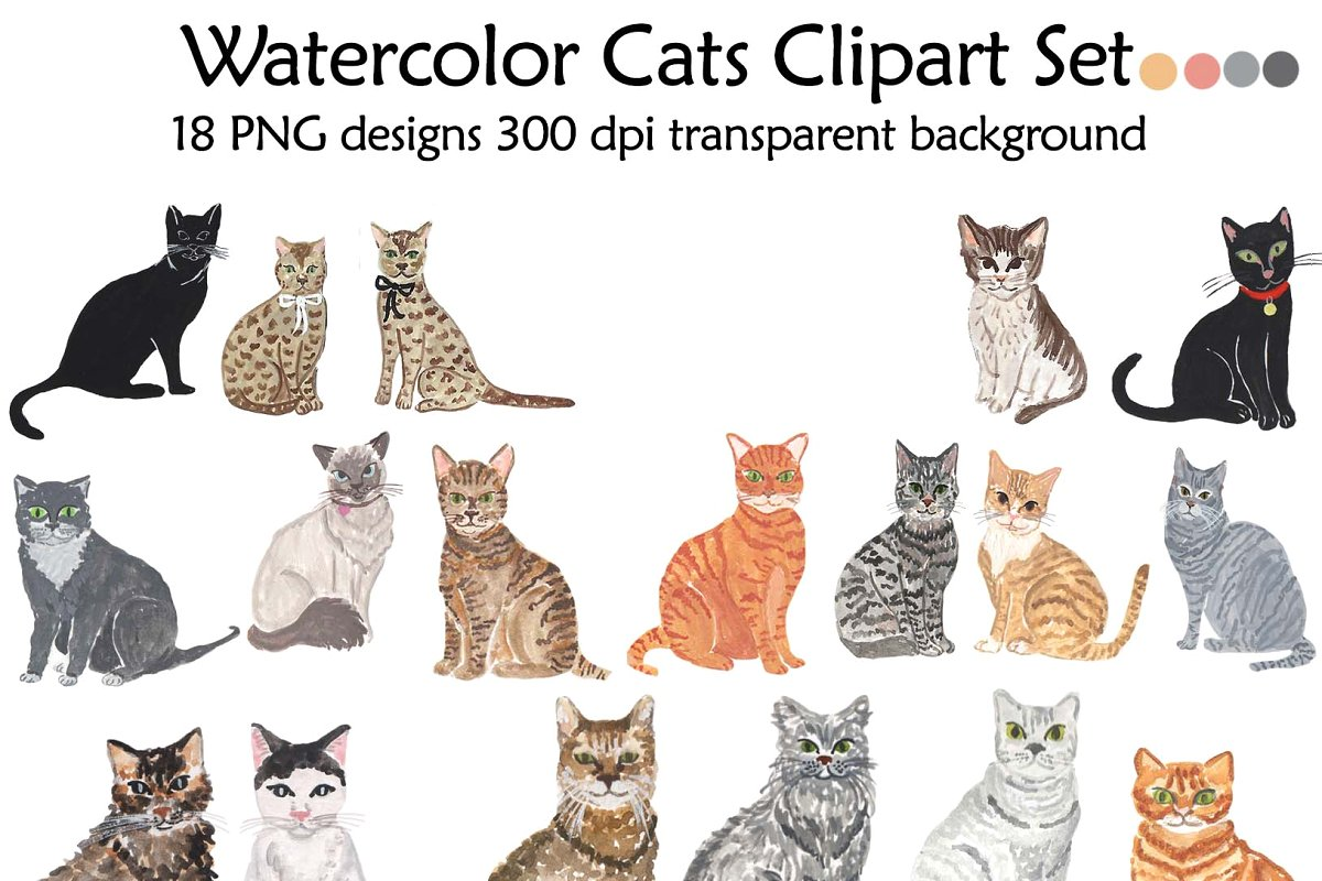 Domestic Animal clipart, Cat clipart.