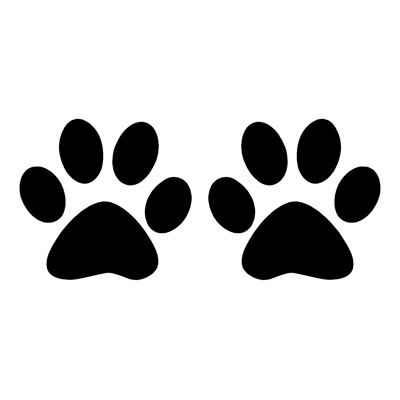 Dog paw prints silhouette illustration animal background Clipart.
