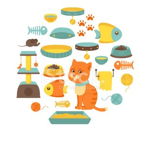 Cat stuff collection, cat toys, cat food Clipart Image.