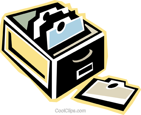 card catalogue Royalty Free Vector Clip Art illustration.