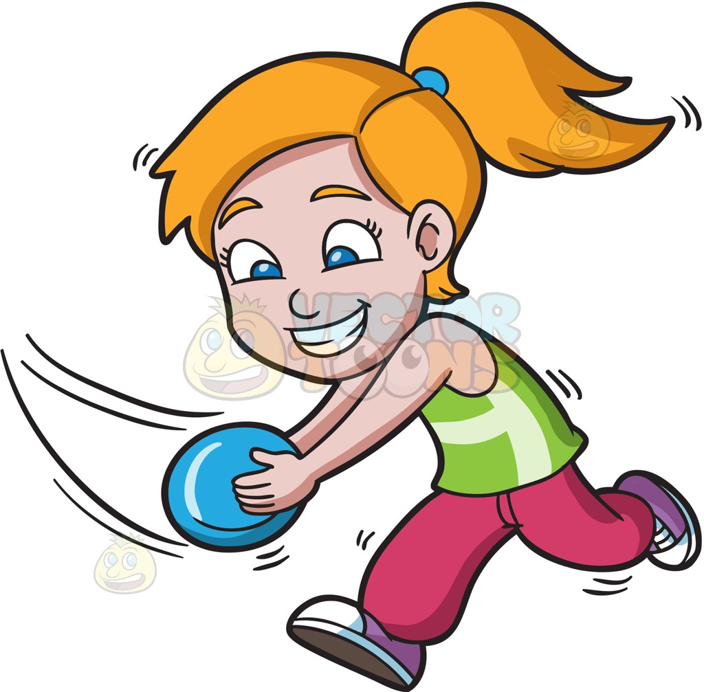 A girl running to catch a flying disc » Clipart Station.