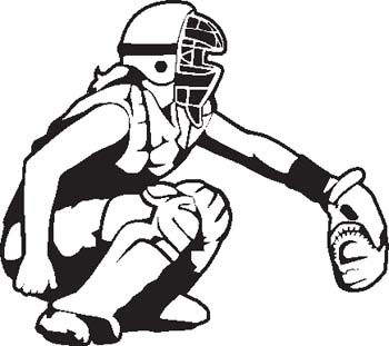 Softball catcher clipart image.