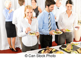 Stock Photographs of Business woman serve herself at buffet.