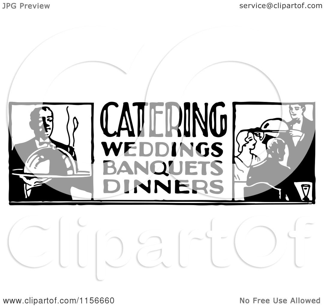 Clipart of a Black and White Retro Catering Food Service Sign.