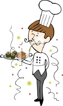 Royalty Free Clipart Image: Catering Chef Serving Food at a New.