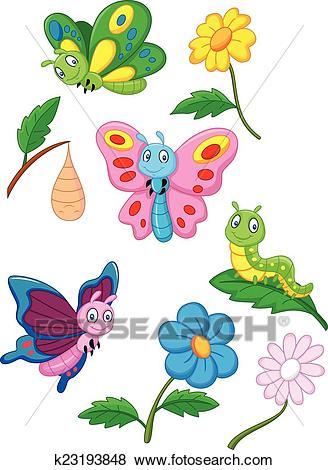 Cartoon butterfly, caterpillar and Clip Art.