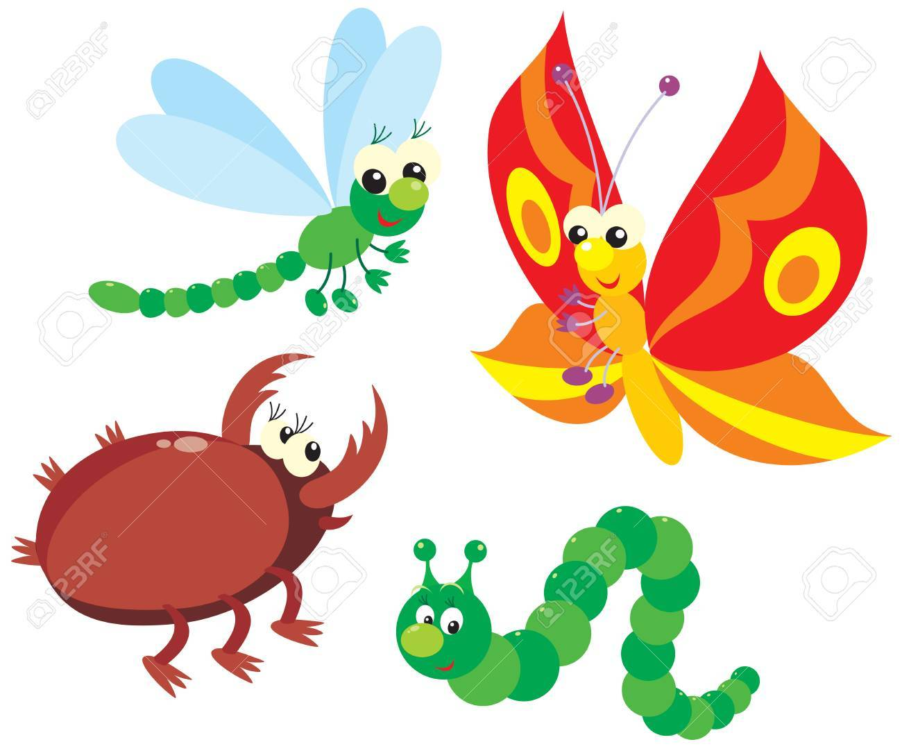 Caterpillar, butterfly, dragonfly and beetle.