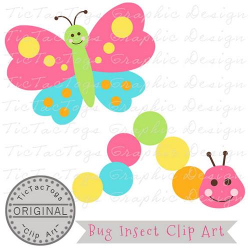 Bug Clip Art, Caterpillar Clipart, Butterfly Digital, Personal and CU.