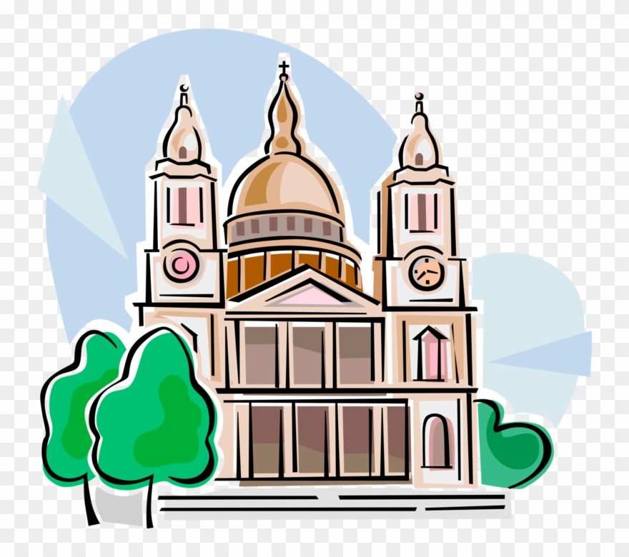 Vector Illustration Of St Paul's Cathedral Church,.