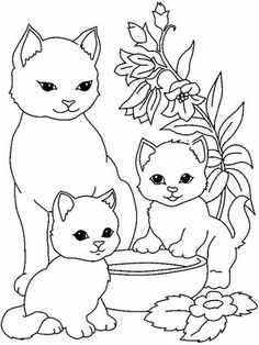 Cat And Kitten Clipart Black And White.