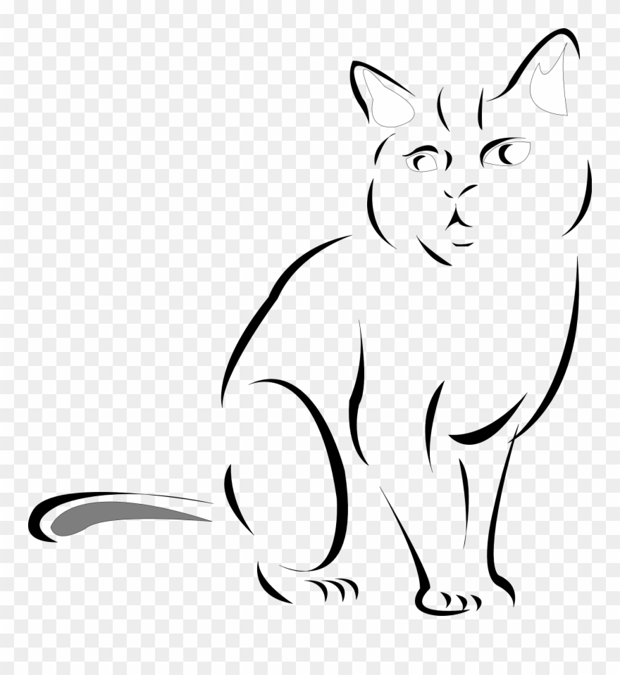 Black And White Cat Drawingcat Line Drawings Clipart.