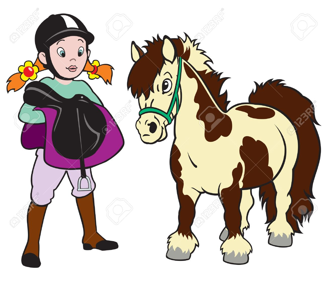 Cheval Cavalier, Petite Fille Avec Poney, équitation, Image De.