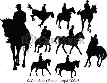 Clip Art Vecteur de silhouettes, Cheval, cavalier.