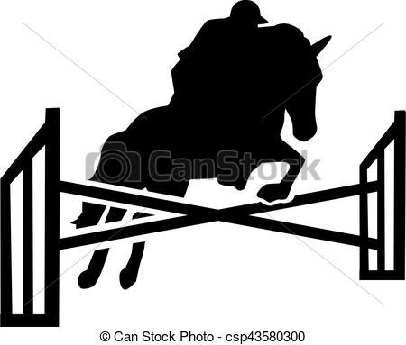Clipart Vecteur de Cheval, obstacles, sur, Sauter, cavalier.