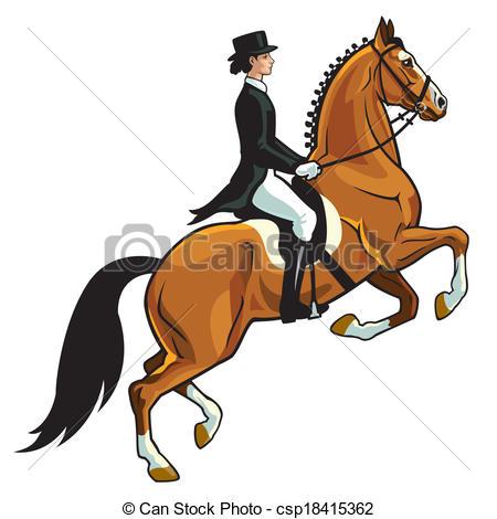 Clip Art Vecteur de cavalier, Dressage.