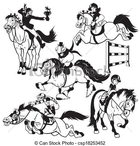 Vecteur Clipart de Cheval, ensemble, dessin animé, cavaliers.