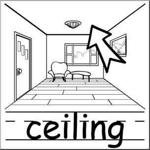 Clip Art: Basic Words: Ceiling B&W Labeled I abcteach.com.