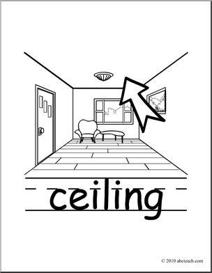 Clip Art: Basic Words: Ceiling B&W (poster) I abcteach.com.