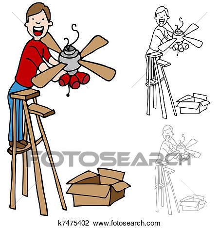 Man Installing a Ceiling Fan Clipart.