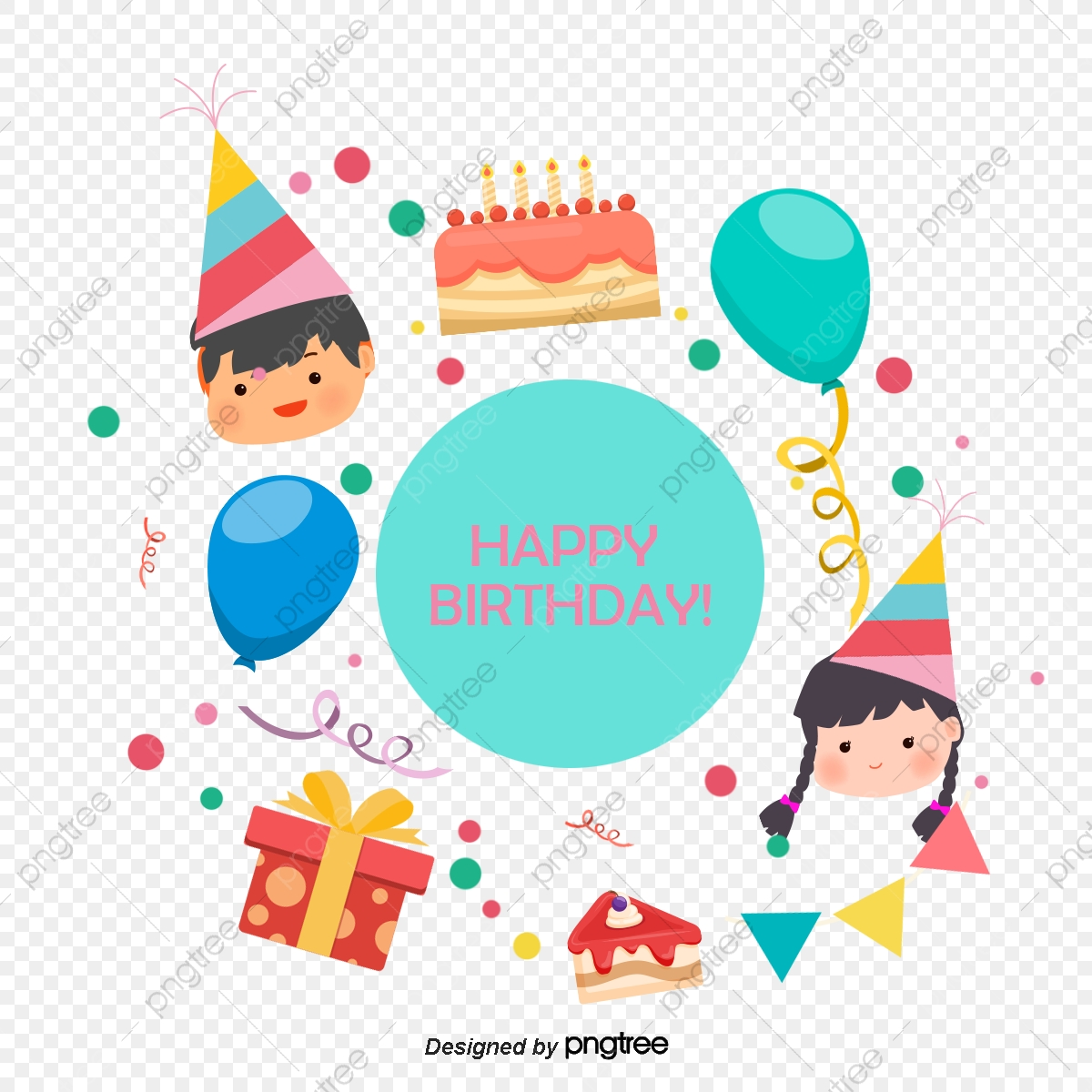 Vector Hand Drawn Cartoon Kids Celebrate Birthday, Cartoon Clipart.