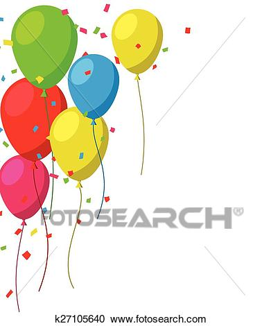 Celebrate background with flat balloons. Clipart.