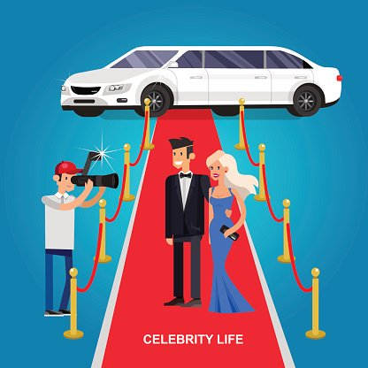 Two rich and beautiful celebrities Clipart Image.