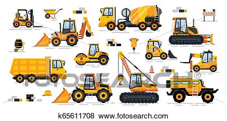 Cement Mixer Industrial Machinery Isolated Icons Clip Art.
