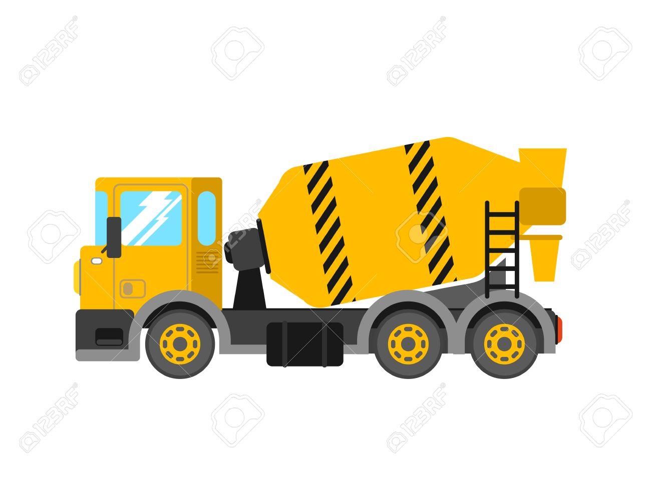 Construction cement mixer truck. Building concrete mixer car.