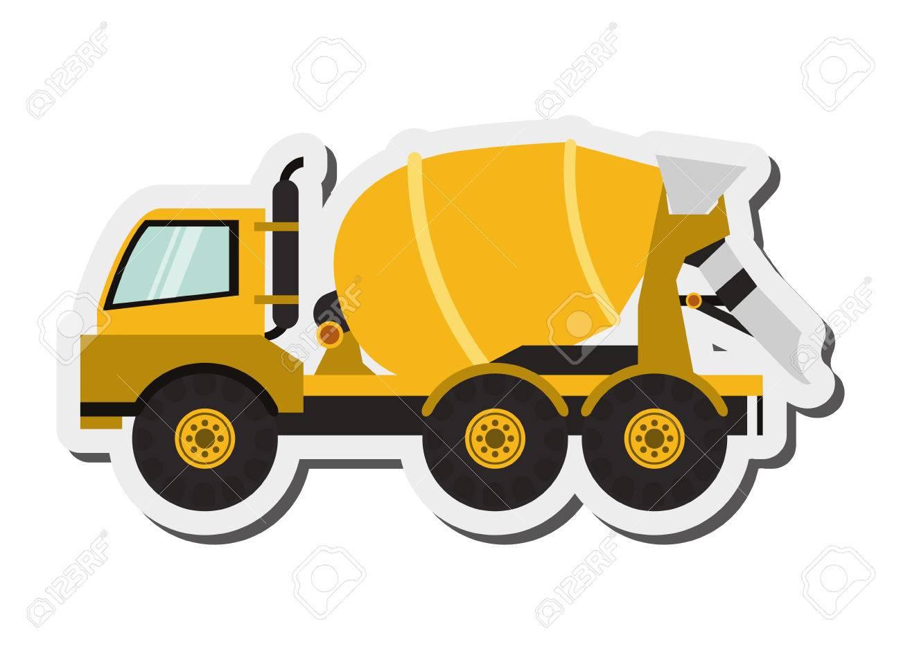 flat design cement mixer truck icon vector illustration.