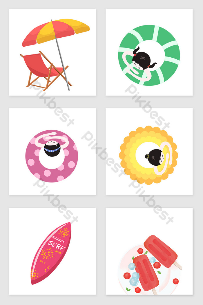 Summer beach pool illustration elements.