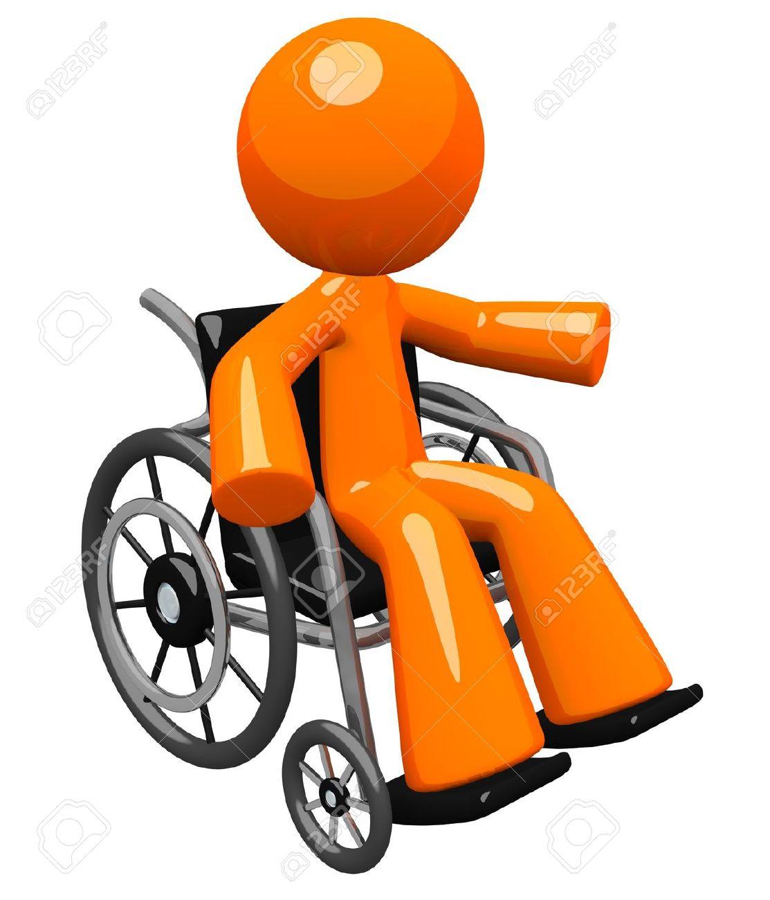 Un Homme D'orange Avec Son Bras Gestes, Dans Une Chaise Roulante.