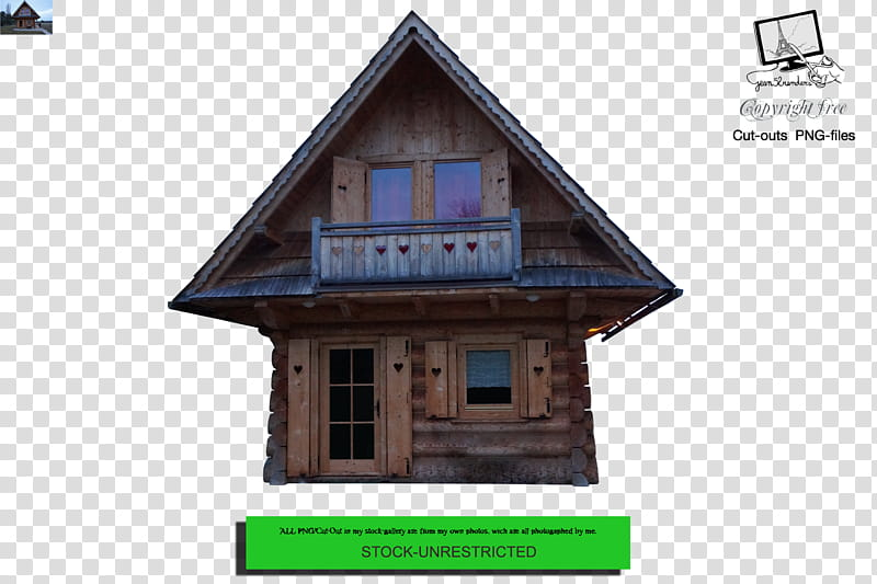 Chalet , brown wooden house transparent background PNG.